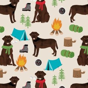 chocolate labrador dog camping pattern fabric - dog fabric,  pattern, labrador fabric, camping fabric, dog design - tan