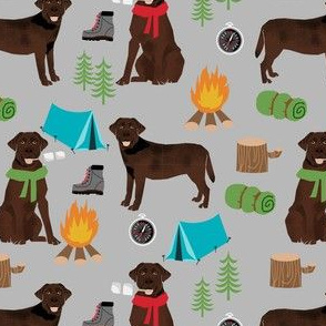 chocolate labrador dog camping pattern fabric - dog fabric,  pattern, labrador fabric, camping fabric, dog design - grey