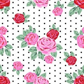 "6 "" valentines rose floral pattern fabric - valentines day fabric, valentines fabric, roses fabric, pink rose, red rose - white with black dots"