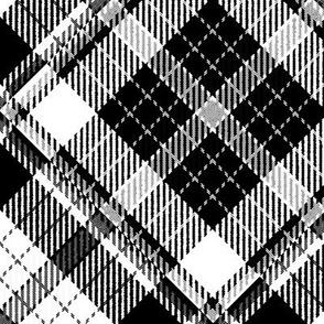 Large Scale Black and White Plaid Counterchanged Diamond Checkerboard