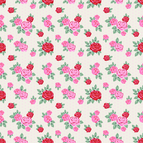 """SMALL  - 2.5"""" valentines rose floral pattern fabric - valentines day fabric, valentines fabric, roses fabric, pink rose, red rose - cream fabric by charlottewinter on Spoonflower - custom fabric"""