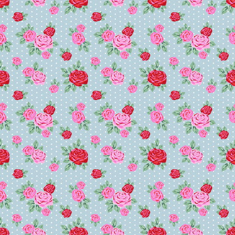 "SMALL  - 2.5"" valentines rose floral pattern fabric - valentines day fabric, valentines fabric, roses fabric, pink rose, red rose - dusty blue fabric by charlottewinter on Spoonflower - custom fabric"