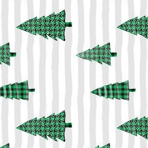 """4"""" Plaid Green Winter Trees with Stripes 90 degrees"""