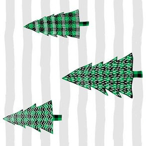 "8"" Plaid Green Winter Trees with Stripes 90 degrees"