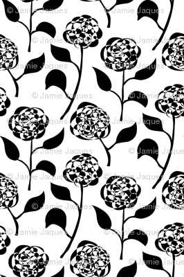 Nora's Flowers (large scale, black and white)