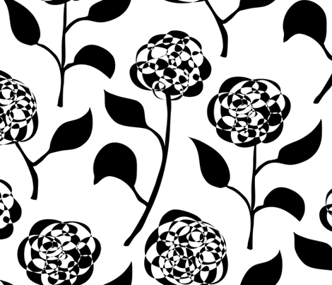Nora's Flowers (large scale, black and white) fabric by jamiejaques on Spoonflower - custom fabric