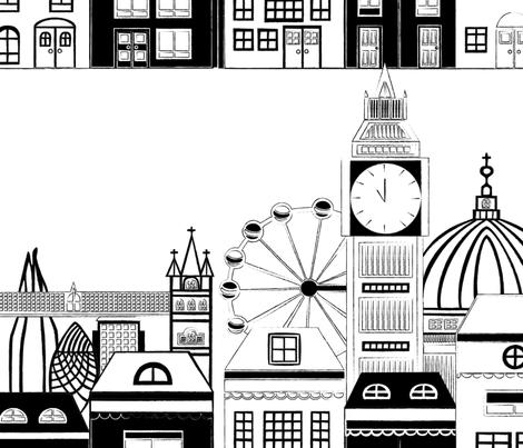 Black and White London Skyline fabric by tiffanyaryee on Spoonflower - custom fabric