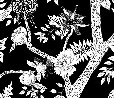 Black and White Peony Branch Mural fabric by danika_herrick on Spoonflower - custom fabric