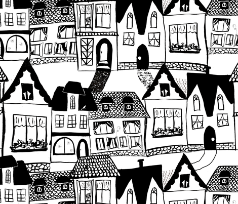 HousesBW fabric by belana on Spoonflower - custom fabric