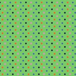 Reading by Soft Glow / Bookworm/Glowworm Polka-dots on green