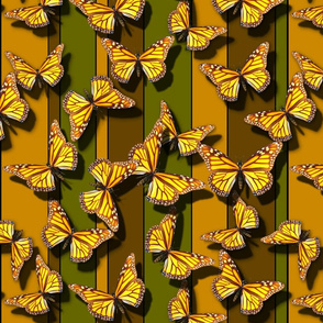 Butterflies on Striped Background