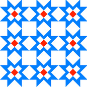 Star Crossed Blue checkerboard Red -clean