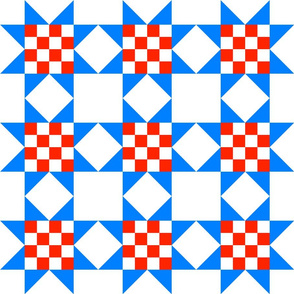 Star Crossed checkerboard Red Blue-clean