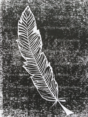 Feather Block Print Large Scale