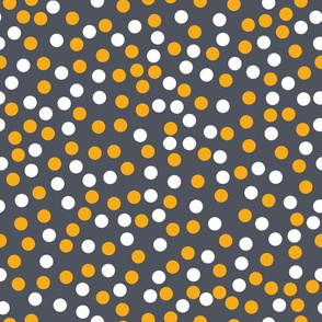 Gold and white circles on grey background