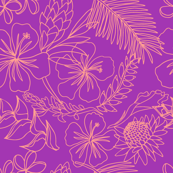 Sketchy Tropical Floral in purple