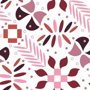 Abstract pink flowers and butterflies