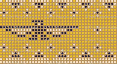 Thunderbird* (Gold Seal) || bird birds pixel pixelized pixelated geometric mosaic tile beads western Native American tribal diamonds triangles mustard