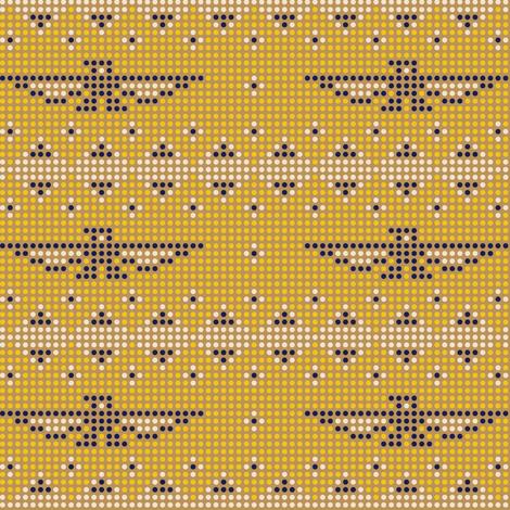 Thunderbird* (Gold Seal) || bird birds pixel pixelized pixelated geometric mosaic tile beads western Native American tribal diamonds triangles mustard fabric by pennycandy on Spoonflower - custom fabric
