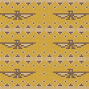 Thunderbird* (Gold Seal) || bird birds pixel pixelized pixelated geometric mosaic tile beads western Native American tribal diamonds triangles mustard