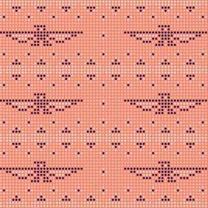 Thunderbird* (Space Fruit) || bird birds pixel pixelized pixelated geometric mosaic tile beads western Native American tribal diamonds triangles living coral pastel