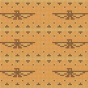 Thunderbird* (Bean with Bacon) || bird birds pixel pixelized pixelated geometric mosaic tile beads western Native American tribal diamonds triangles coral