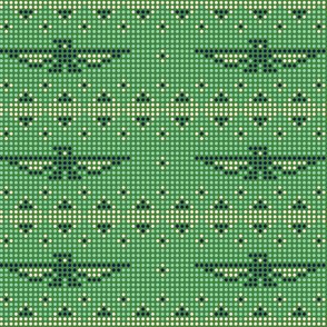 Thunderbird* (Dollar Bill) || bird birds pixel pixelized pixelated geometric mosaic tile beads western Native American tribal diamonds triangles green pastel