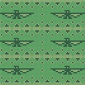Thunderbird* (Dollar Bill) || bird birds pixel pixelized pixelated geometric mosaic tile beads western Native American tribal diamonds triangles green pastel