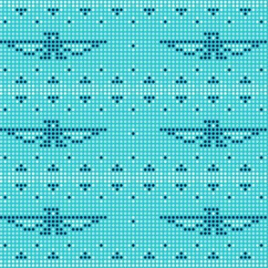 Thunderbird* (Television Blue) || bird birds pixel pixelized pixelated geometric mosaic tile beads western Native American tribal diamonds triangles turquoise aqua