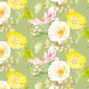 Blush pink, cream white, and yellow rose watercolor