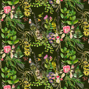 wild roses and wildflowers in watercolor green background