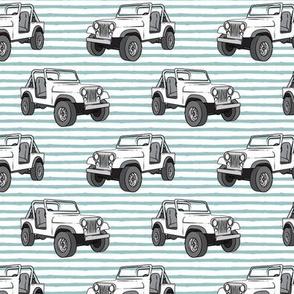 jeeps - white on dusty blue stripes