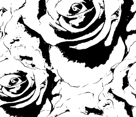Large scale rose in black and white fabric by fableandguild on Spoonflower - custom fabric