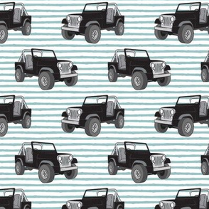 jeeps - black on dusty blue stripes