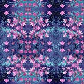 Bohemian Pink Wildflowers in Blue Ovals and Diamond Shapes
