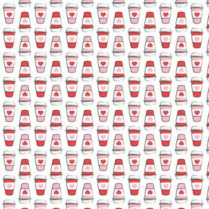 (micro scale) Coffee cups - hearts - valentines day - stacked on white C18BS