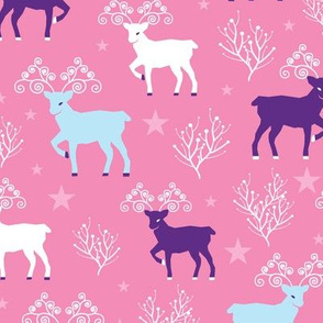 Magical deer pink holiday