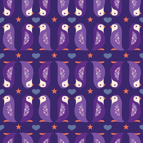 Purple penguins up and down