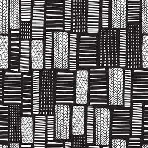 Abstract Doodle Blocks Black and White