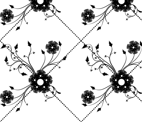 black and white floral fabric by nudell_gia_designs on Spoonflower - custom fabric