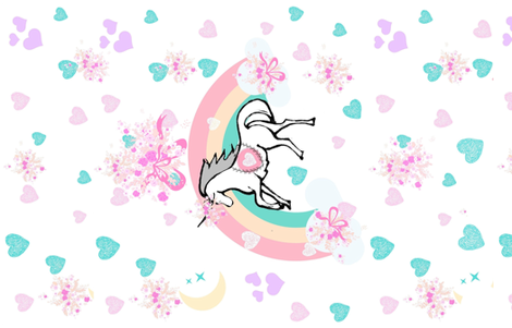 YARD 54  unicorn princess ribbons and bows fabric by drapestudio on Spoonflower - custom fabric