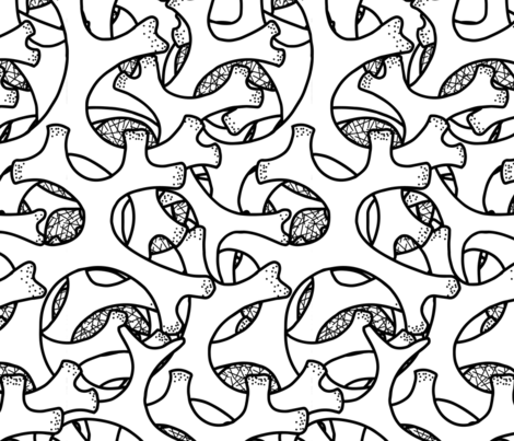 Tube Lichen black and white fabric by elaket on Spoonflower - custom fabric