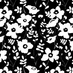 Floral garden - black & white