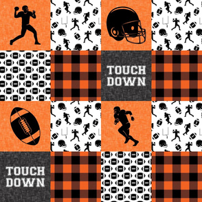 touch down - football wholecloth - orange and black - college ball -  plaid  C18BS