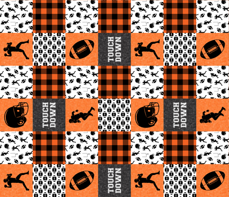 touch down - football wholecloth - orange and black - college ball -  plaid (90) C18BS fabric by littlearrowdesign on Spoonflower - custom fabric