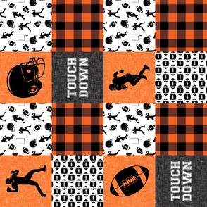 touch down - football wholecloth - orange and black - college ball -  plaid (90) C18BS