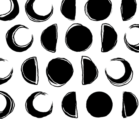 Jumbo Sketchy Moons fabric by squirrelcoffee on Spoonflower - custom fabric