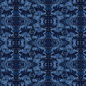 Blue Granite Carvings Geometric Fractal