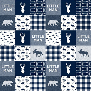 "(3"" small scale) Little Man Patchwork - navy C18BS"