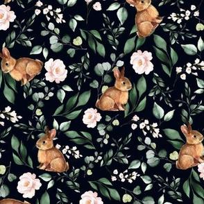 Floral Bunnies Navy